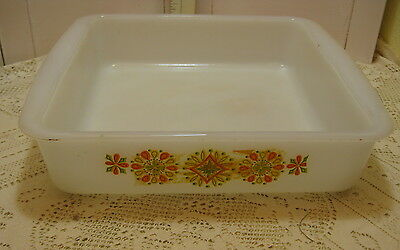 "Vintage GLASBAKE 8"" Square Baking Dish Casserole Milk Glass Orange Yellow Green"