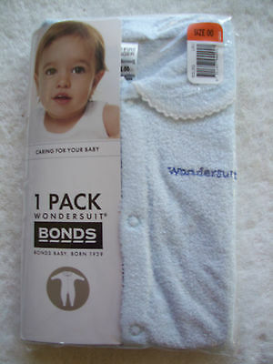 BNIP Baby Boy's Bonds Blue Wondersuit/Coverall/Sleeper Size 00