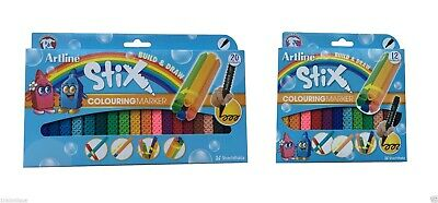 ARTLINE Stix Pens | Build Draw Colouring Non Toxic Marker | Art Craft Pack 12 20