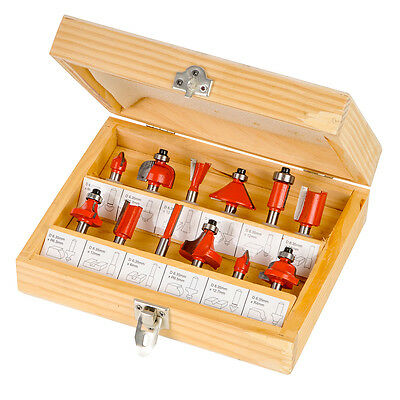 """1/4"""" TCT Router Bit Set, Kit, Bits, Cutter, Routing, Grooving, Dovetail, Metric"""