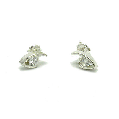 Small Sterling Silver Earrings Solid 925 With 4Mm Cz E000541 Empress