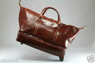 Genuine Italian Leather Duffle Weekend Travel Overnight Gym Bag Trolley Luggage