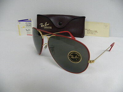 ee962c7dcd8 New Vintage B L Ray Ban Large Metal II Flying Colors Red Gold 62mm NOS USA