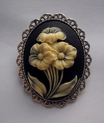 Floral Cameo White on Black Resin Silver Tone Brooch 48mm
