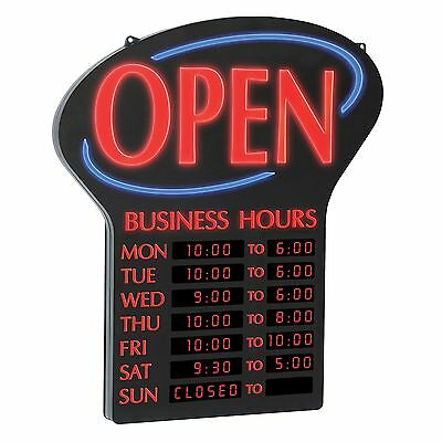 NEWON Shatterproof Ultra Bright LED OPEN Sign w/Lighted Digital Business Hours