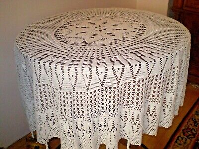 Vintage Hand made Cotton round  Tablecloth  diameter size 65 inches