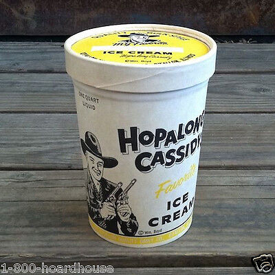 Vintage Lidded 1950s HOPALONG CASSIDY ICE CREAM Cowboy Container Box QUART
