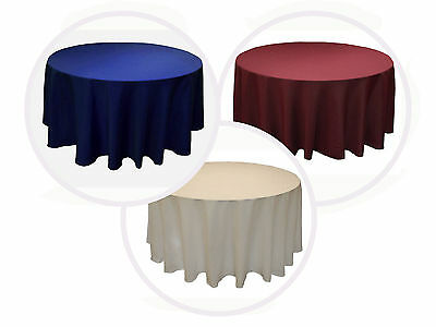 """10 PACKS 132"""" inch ROUND Polyester Tablecloth WEDDING PARTY 25 COLORS 6 ft Table"""