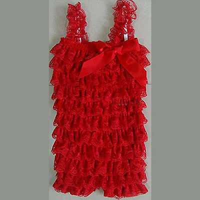 Red Baby Girls Toddlers Petti Ruffled Lace Posh Lace Romper,Sz 0-6,6-12,1-2 .