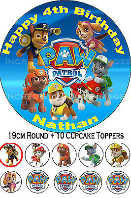 Paw Patrol Edible Party Cake Decoration Topper + 10 Cupcakes PRE-CUT