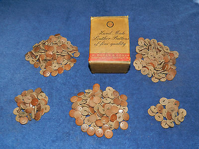 Sutler's Set of 336 Vintage Hand Made Leather Buttons and Original Box