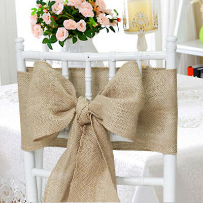 """10 Burlap Chair Cover Sashes 6""""x108"""" Inch Bows Natural Jute Wedding Event SALE"""