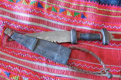 Old Arabic Ceremonial Fighting Knife…  with Handmade Leather Case & Handle...