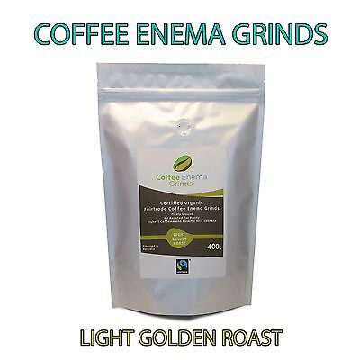 COFFEE ENEMA GRINDS LIGHT GOLDEN ROAST GERSON AIR ROASTED ORGANIC FAIRTRADE 400g