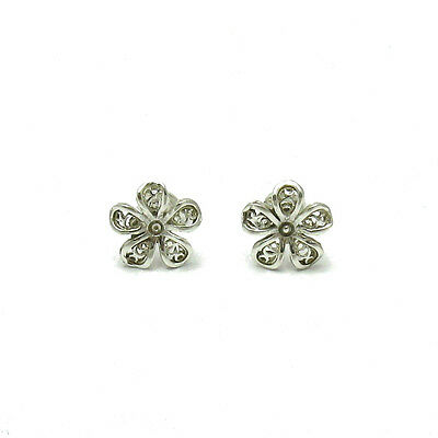 Small Sterling Silver Earrings Solid 925 Flowers E000502 Empress