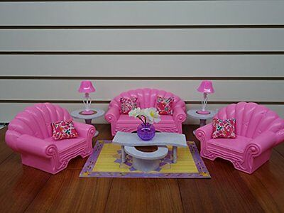 Gloria Dollhouse Living Room for Barbie Sized Dolls Play Set Furniture Toy