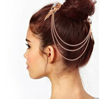 Womens Gold Metal Crystal Feather Cuff Chain Jewelry Headband Hair Band