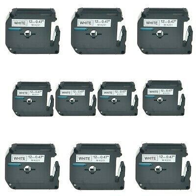 1-20pc Black White Label Tape Compatible For Brother M-K231 MK231 P-touch 12mm