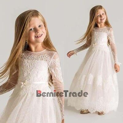 Lace Flower Girl Dresses Wedding Children Kid Bridesmaid Communion Party Gown