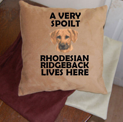 Rhodesian Ridgeback embroidered dog cushion faux suedette