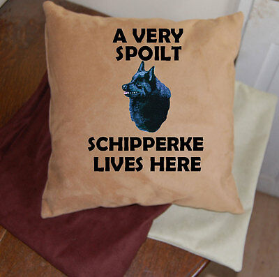 Schipperke embroidered dog cushion faux suedette