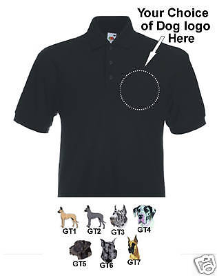 Poloshirt embroidered Great Dane Dog personalised birth
