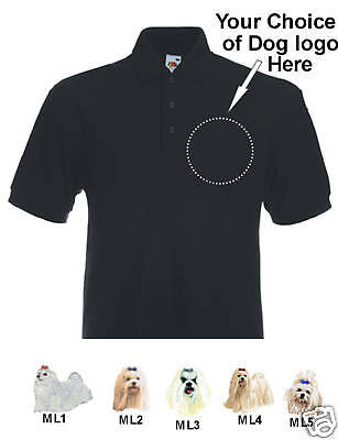 Poloshirt embroidered Maltese dog personalised birthday