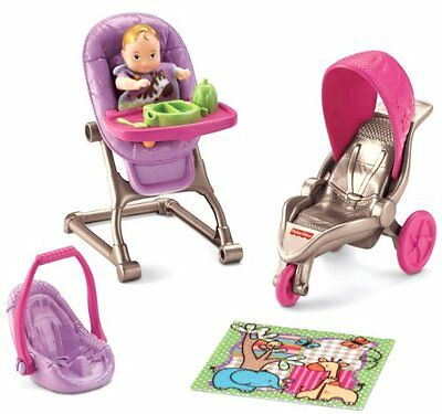 Fisher Price Loving Family Baby Doll House Set Stroller Chair Dolls Miniature