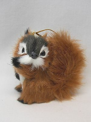 Wildlife Red Squirrel Soft Fuzzy Body Figurine Christmas Tree Ornament  2 1/2 In