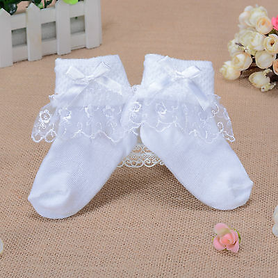 Girls White Lace Flower Frilly Christening Socks 1-8 Years