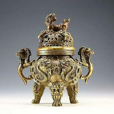 Chinese collection of ancient bronze decoration dragon tiger incense burner