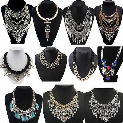 Big Charm Pendant Chain Crystal Jewelry Choker Chunky Statement Bib Necklace NE