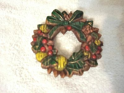 VINTAGE Christmas Ornament Hanging Wreath Brown Red Green