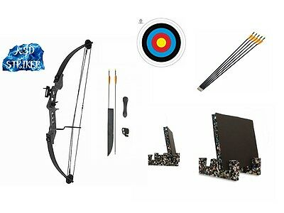Archery Striker Light Adult/Youth Black Compound Bow and Arrow Full Set Target