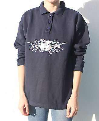 Vintage 90s Floral Rose Embroidered Navy Blue Sweatshirt Sweater Collar M