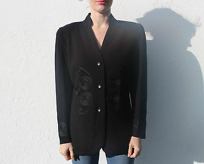 Vintage 80s Embroidered Black Cardigan Knit Jacket Shoulder Pads Wool Blend 8-10