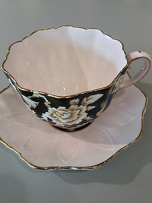 Paragon Tea Cup Saucer Black w White Rose G6125 Queens Stamp 1940s