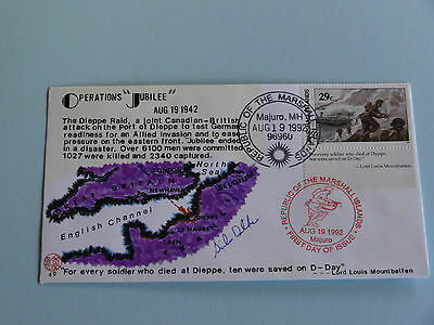 WWII FDC #49 Canada Britain Germany Dieppe Mountbatten Inscript * 50th Annivers