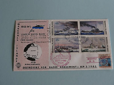 WWII FDC #13 Destroyers Bases Agmt MH Red Precancel * 50th Anniversary