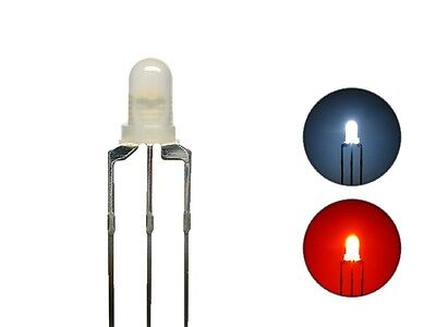 S443 10 Pièce DUO LEDs 3mm Bi-couleur blanc, rouge 3 broches