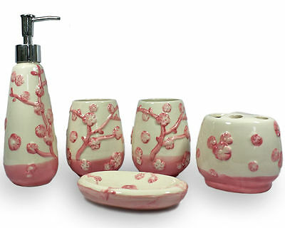 5 Piece Ivory Pink Flower Ceramic Bathroom Accessory Set Lotion Soap Dish Cups