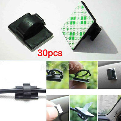 30Pcs Wire Clip Black Car Tie Rectangle Cable Holder Mount Clamp Self-adhesive