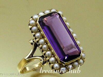 C999 Genuine 9ct Yellow Gold Natural Amethyst & Pearl Cocktail Ring in your size