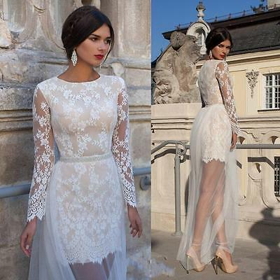 Detachable Tulle Lace Bridal Gown Long Sleeves Wedding Dress Custom Size 6 8 10+