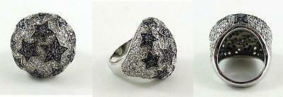 Superb Chunky Sterling Silver Ring set with Pave Black & Clear Facetted Stones