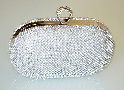 POCHETTE donna ARGENTO elegante borsello brillantini borsa cerimonia party 830