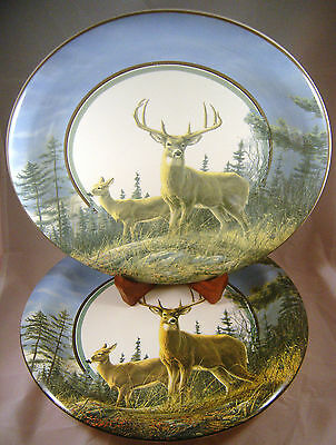 2 CABELAu0027S AUTUMN WHITETAILS DEER Dinner Plates Stoneware Hautman Hunting Buck : whitetail deer dinnerware - pezcame.com