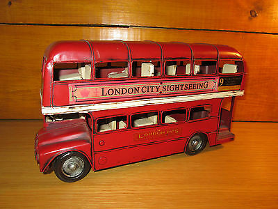 8Fp Hand Crafted And Painted London Double Decker Bus Tin Metal Retro