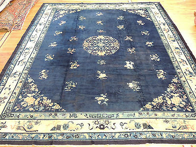 Striking Large Antique Brown/Blue Art Deco Chinese Oriental Area Rug 12x15