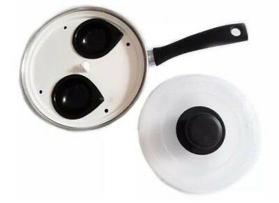 New 2 Hole Egg Poacher Steamer Cooking Pan With Cup & Lid Poach Non Stick